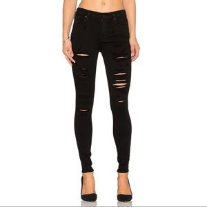 AGOLDE high rise skinny distress jeans